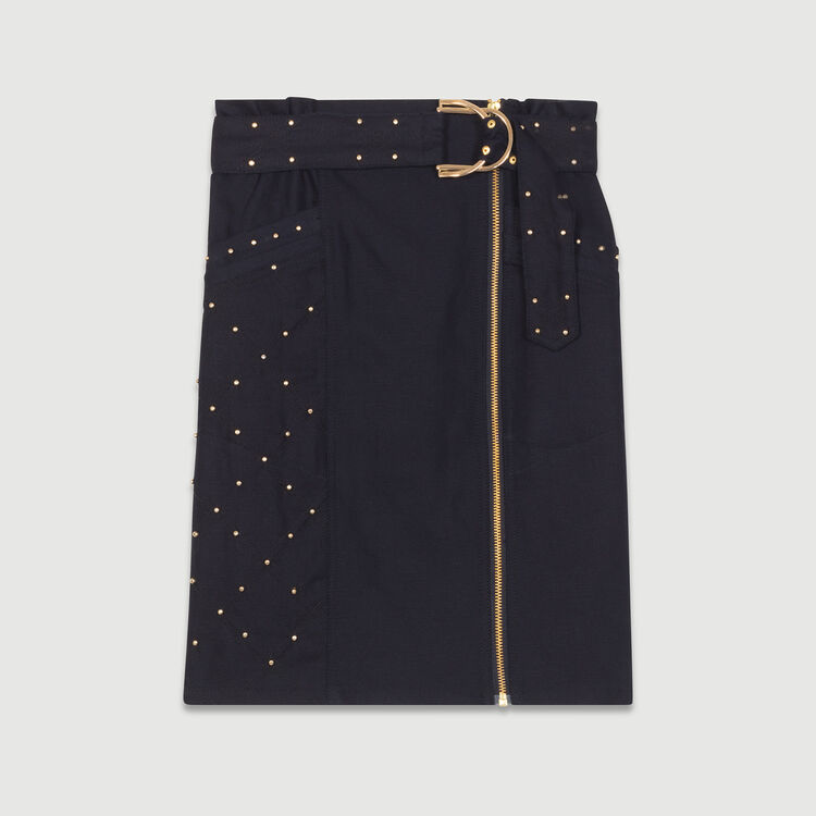 Zipped skirt with studs : Skirts & Shorts color NIGHT BLUE
