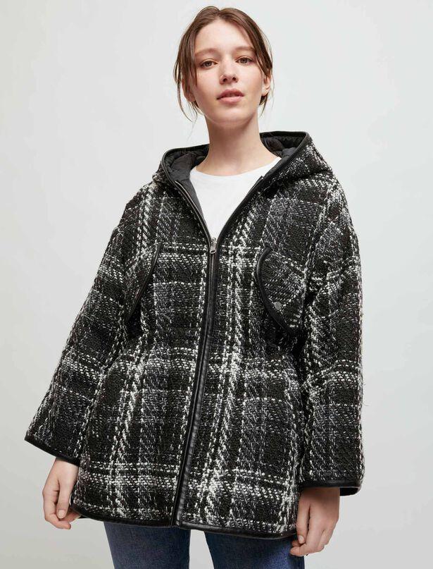 마쥬 MAJE Tweed and down reversible coat,Black