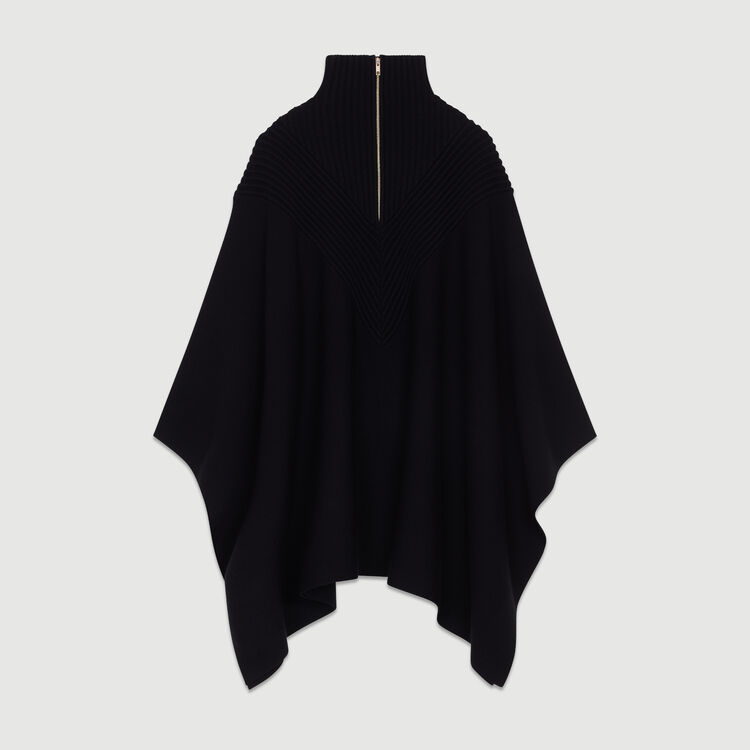 Knit poncho with trucker collar : Sweaters color Black 210