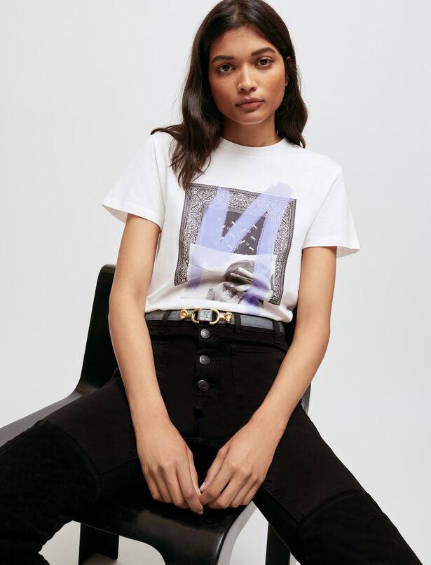 마쥬 티셔츠 MAJE Silkscreen printed T-shirt,White