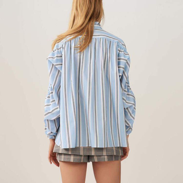 Oversize striped blouse with ruffles : Tops & Shirts color PRINTED