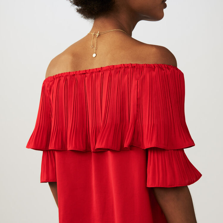 Pleated frills top : Tops & T-Shirts color ROUGE