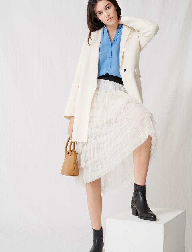 White double-faced midi coat - Coats & Jackets - MAJE