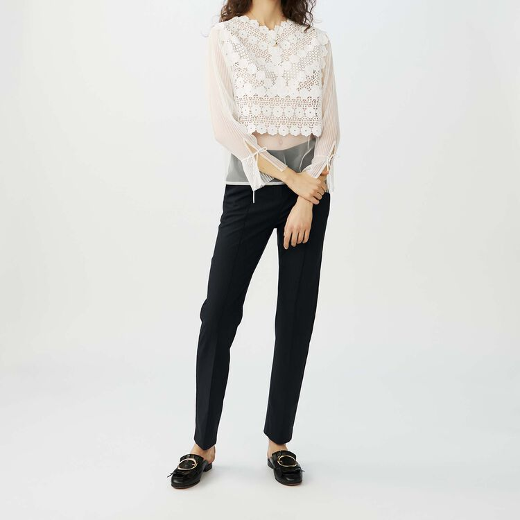 Lace tulle top : Tops & Shirts color ECRU