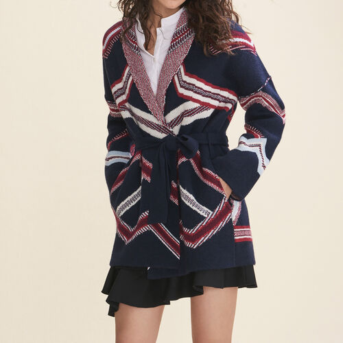 Jacquard cardigan : Sweaters color Navy