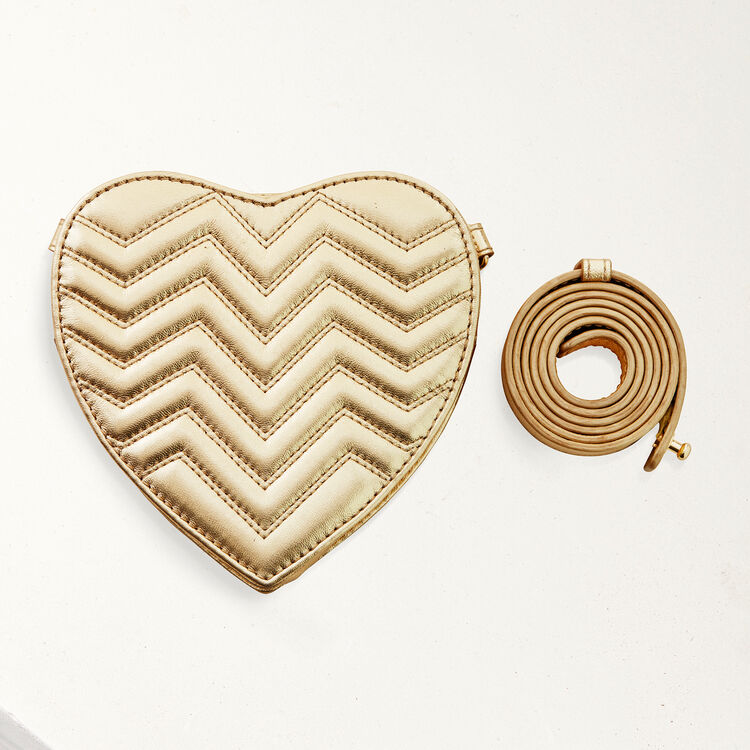 Quilted leather heart-shaped saddle bag : Star bags color Gold