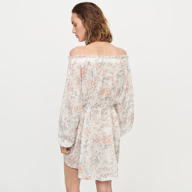 Printed-cotton voile smocking dress : Dresses color Pink