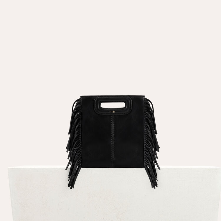 Fringed leather M minibag : Shoes & Accessories color RED