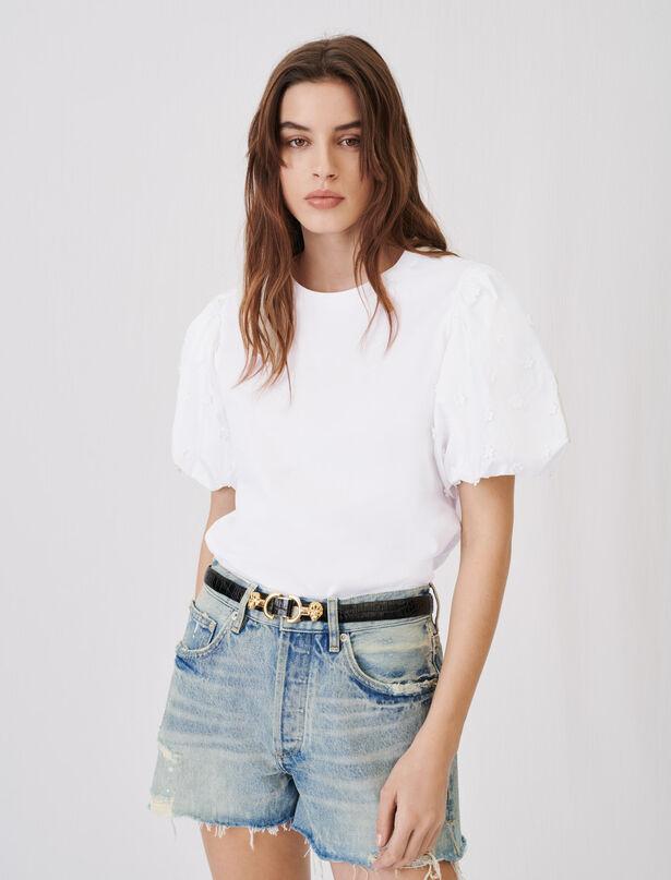 21SS 마쥬 퍼프 소매 티셔츠 MAJE 21TOPLINA Mixed material T-shirt,White