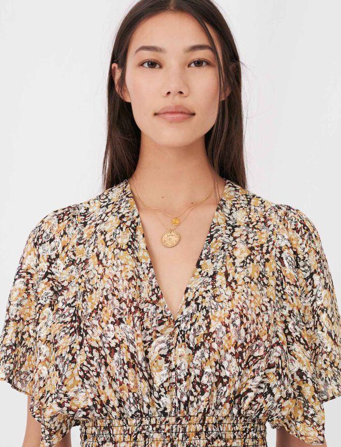 Smocked lurex jacquard dress - Dresses - MAJE
