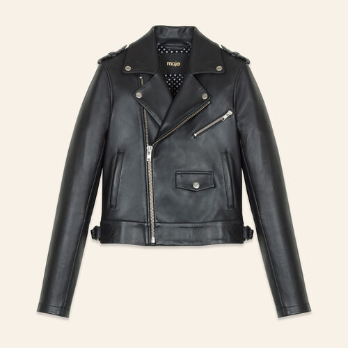 Bonded leather jacket : Coats & Jackets color Black 210