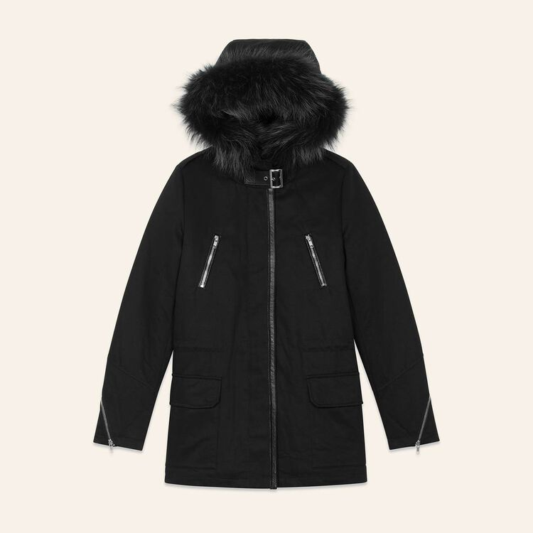 Cotton canvas parka : Coats & Jackets color Black 210
