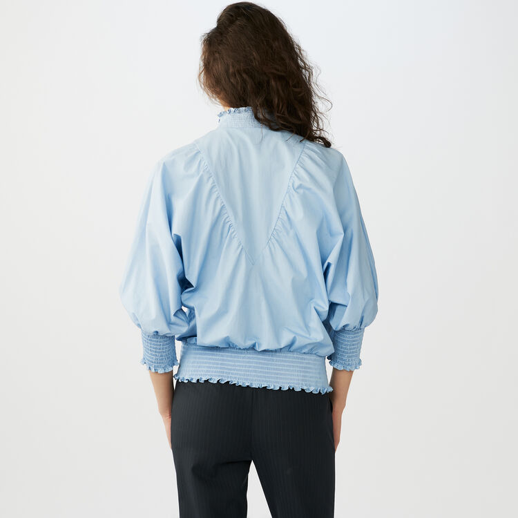 Smocked cotton poplin blouse : Tops & Shirts color Blue