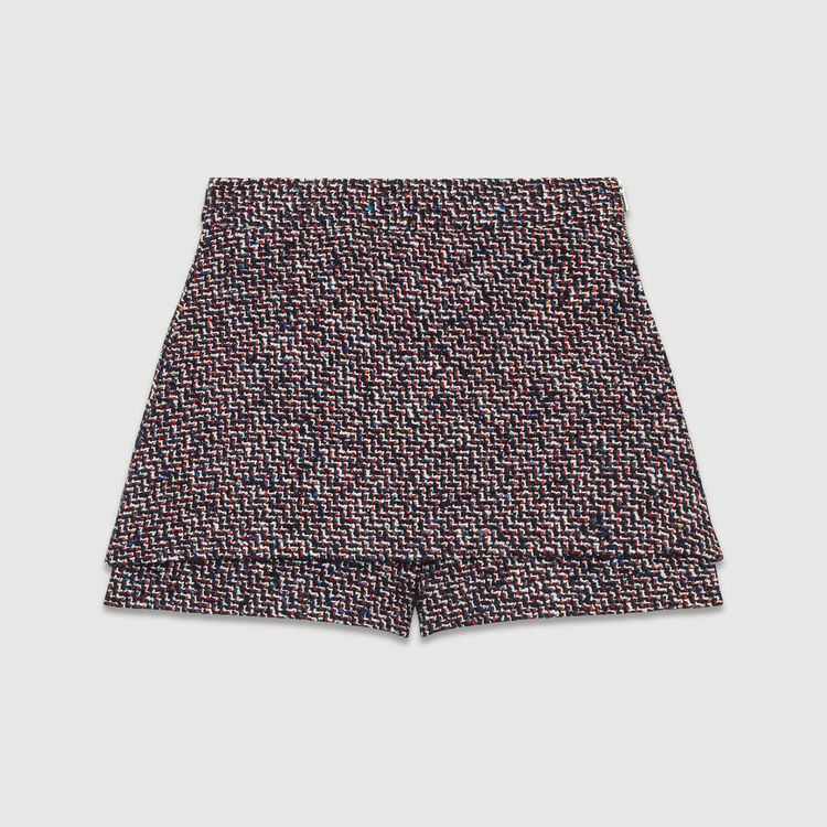 Tweed shorts with trompe l'oeil effect : Skirts & Shorts color Jacquard