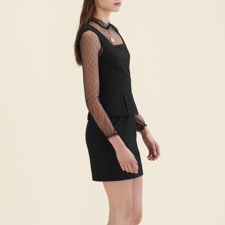 Dual-material dotted Swiss dress : null color
