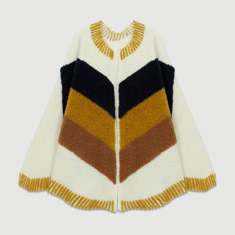 Poncho with sheepskin : Other Accessories color White