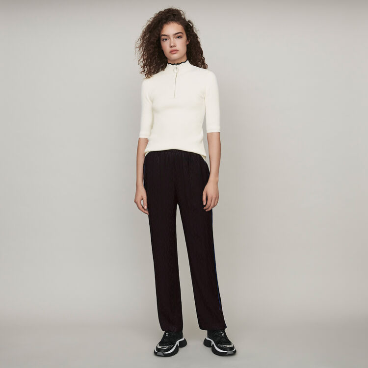 Flowing satin jacquard pants : Pants & Jeans color Black