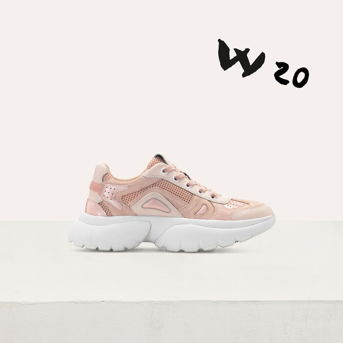 W20 leather urban sneakers in leather : Shoes color Pink