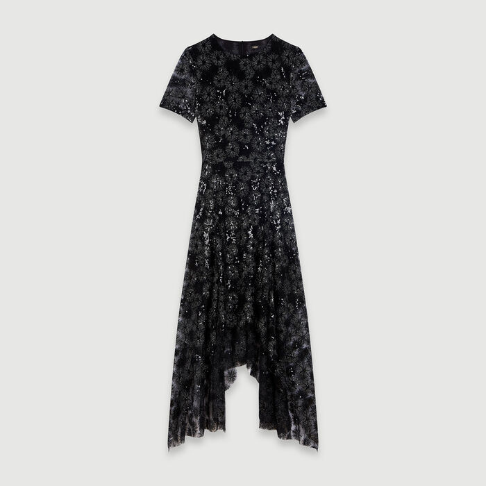 Long sequin-embroidered tulle dress : Dresses color Black