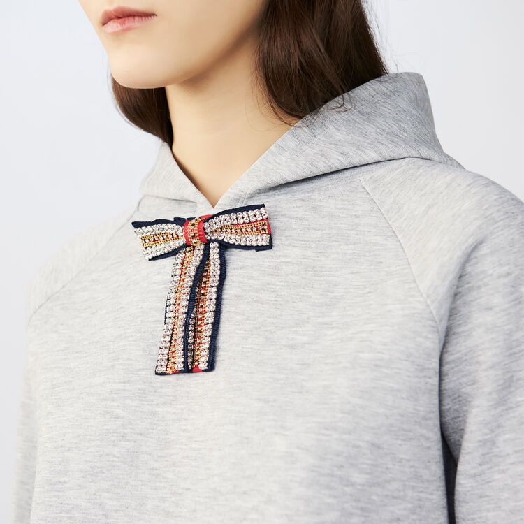 Hooded sweatshirt with removable bow : Tops & Shirts color Grey