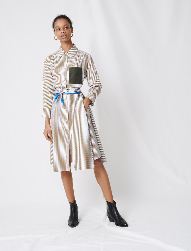 Striped shirt dress with belt - Dresses - MAJE