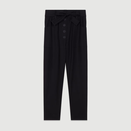Wide high-waist pants : Pants & Jeans color Black 210