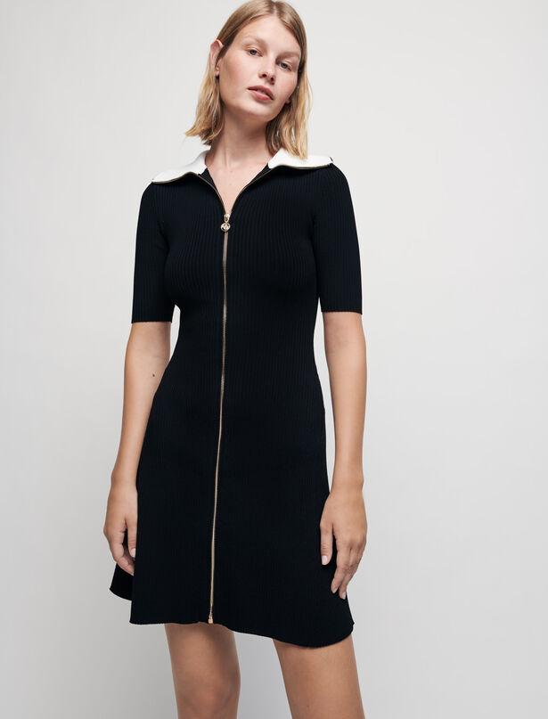 Maje Ribbed knit dress with zip collar