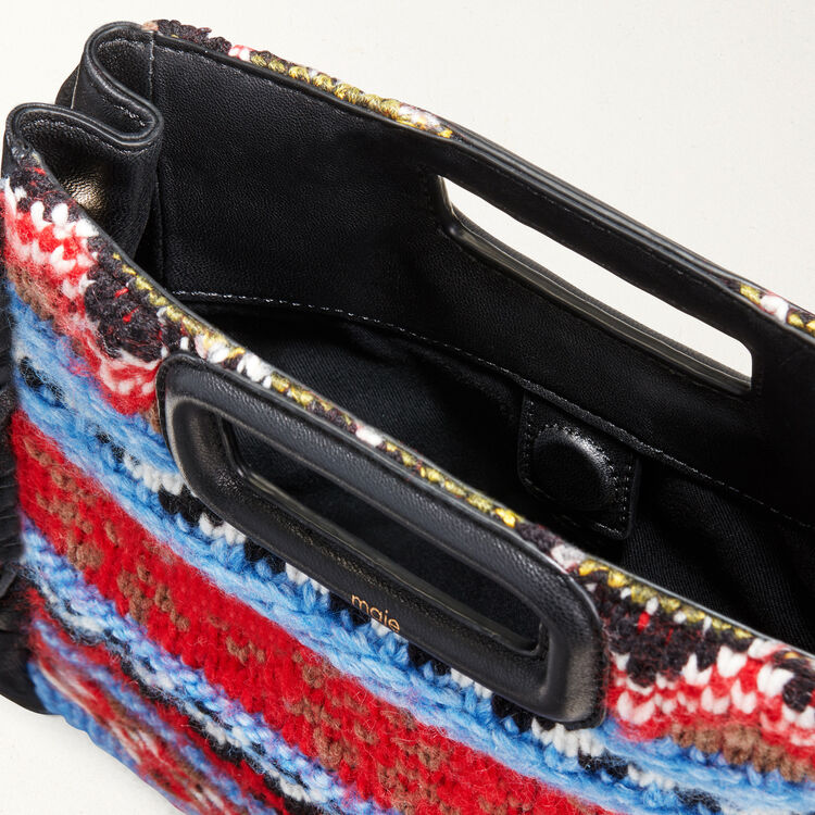 Mini M bag in knit and leather : Bags color Blue