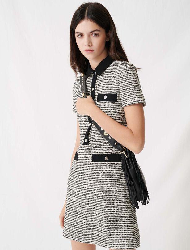 마쥬 트위드 미니 원피스, 리본 벨트 탈착 가능 (지효 착용) MAJE 220RENALA Belted tweed-style dress,Black / White