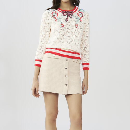 Hemstitched sweater : Sweaters color ECRU