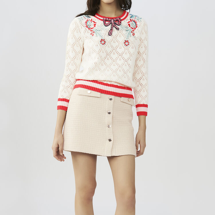 Hemstitched sweater with details : Sweaters color ECRU
