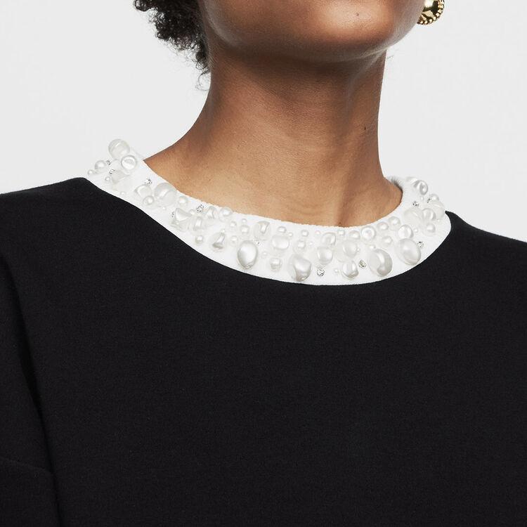 Fleece sweatshirt with pearls : Sweaters color Black 210