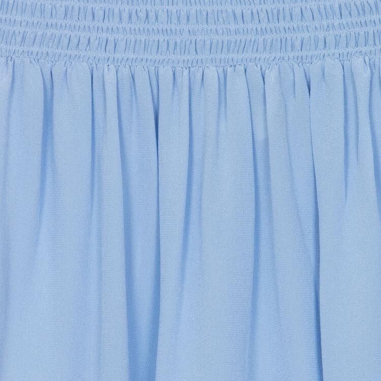 Silk cold-shoulder top : Tops & T-Shirts color Denim