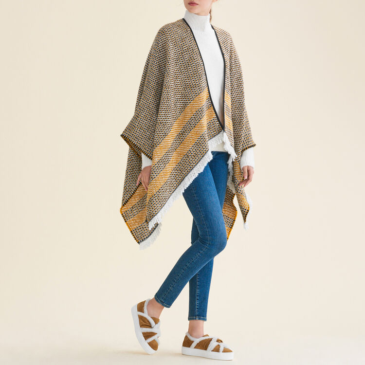 Decorative two-tone knit poncho : Scarves color Yellow