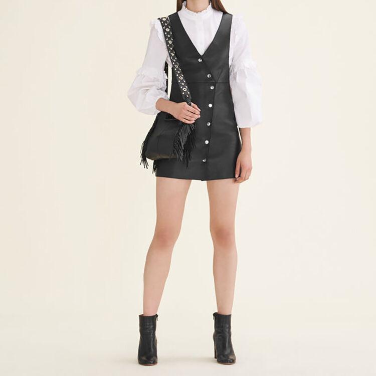 Leather studded shoulder strap bag : All bags color Black 210