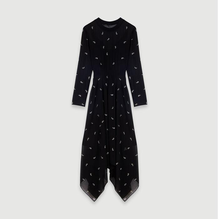 Cashmere scarf dress with strass motif : Dresses color Black