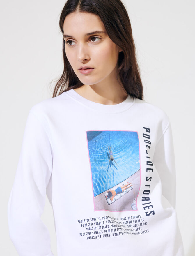 White screen-printed sweatshirt - Sweaters - MAJE