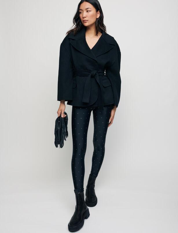 마쥬 MAJE Double face wool blend coat with belt,Black