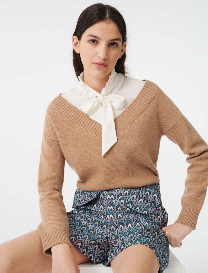 Mixed fabric layered sweater - Sweaters - MAJE