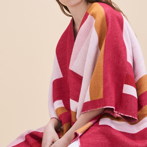 Long poncho with graphic print - Shoes & Accessories - MAJE