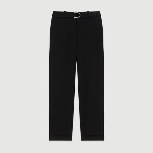 Straight crepe pant : The Spring Essentials color Black 210