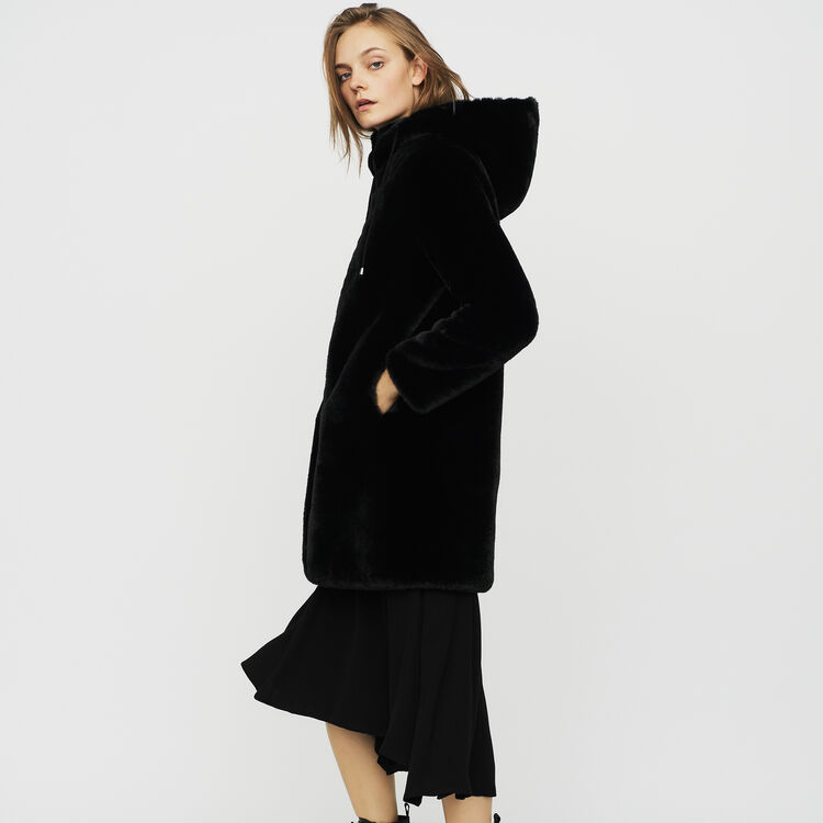Hooded faux fur jacket : See All color Black 210