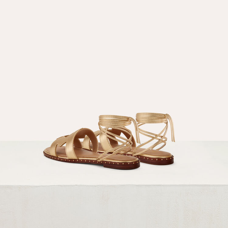 Flat leather sandals : Shoes color Gold