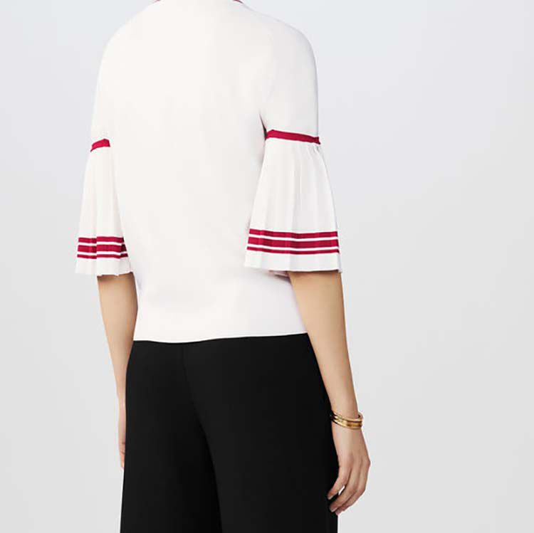 Fine-knit sweater with pleated sleeves : Tops & T-Shirts color WHITE