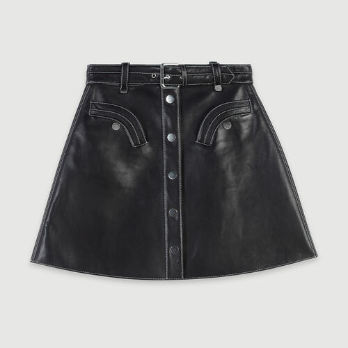 Leather belted A-line skirt : Skirts & Shorts color Black