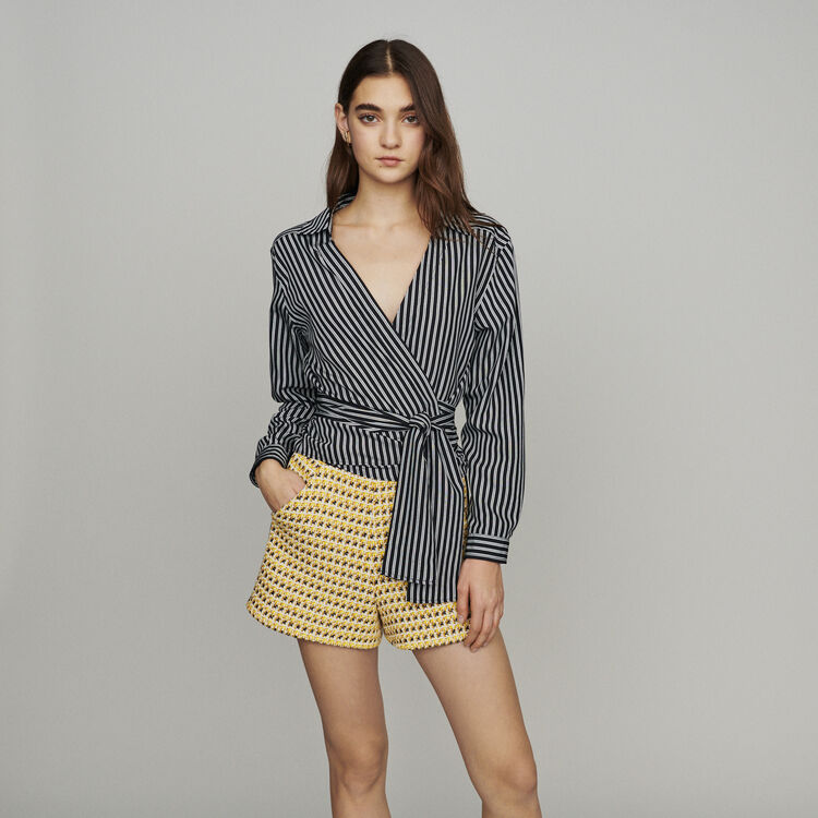 Wrap V-neck top with stripes : New in: Spring Collection color Stripe