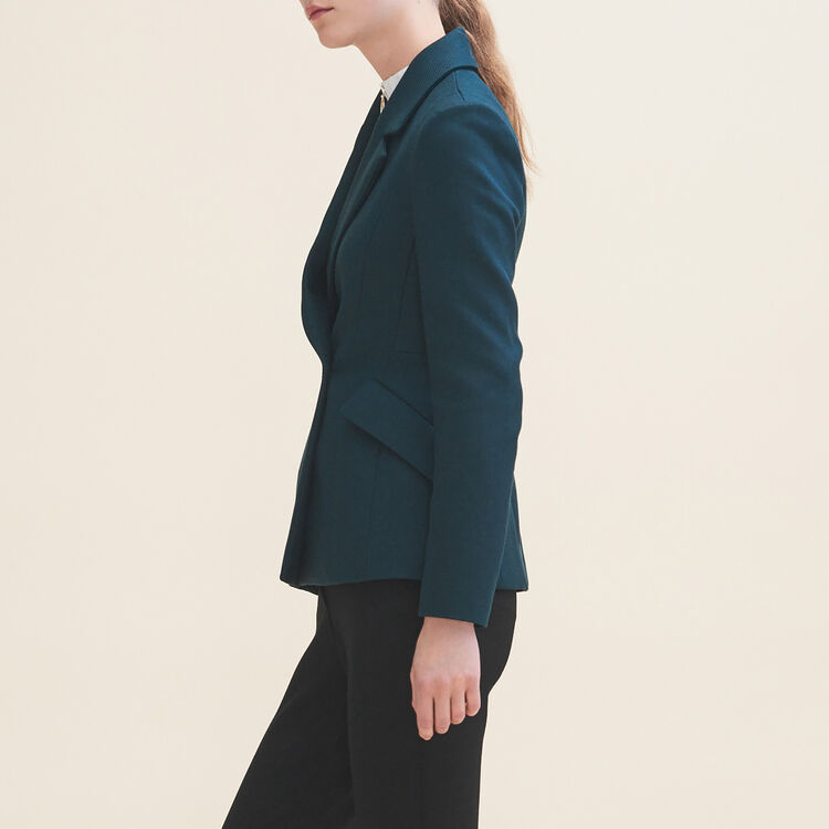 Structured jacket with peplum : Coats & Jackets color GREEN