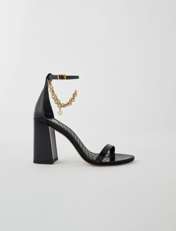 High heel sandals with gold-tone chain - Sandals - MAJE