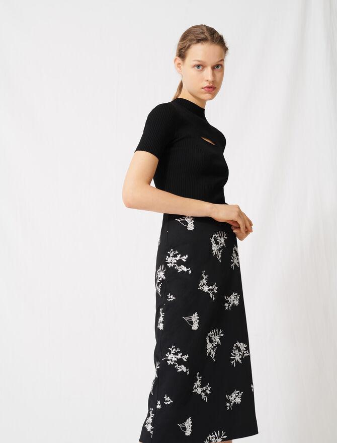 MIDISKIRT IN EMBROIDERED CRÊPE - Skirts & Shorts - MAJE