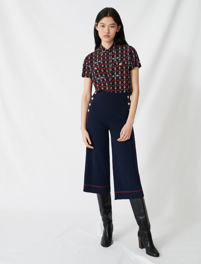 Flares with contrasting topstitching - Pants & Jeans - MAJE